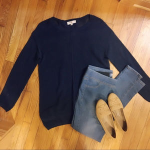 Two by Vince Camuto Navy Mesh Sweater Size Medium